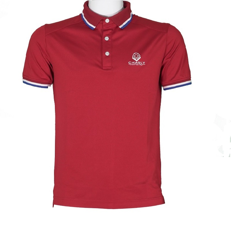 Áo Charly Act-Cooling Ribbed Polo Đỏ