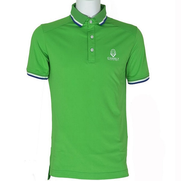 Áo golf Charly Act-Cooling Ribbed Polo xanh lá