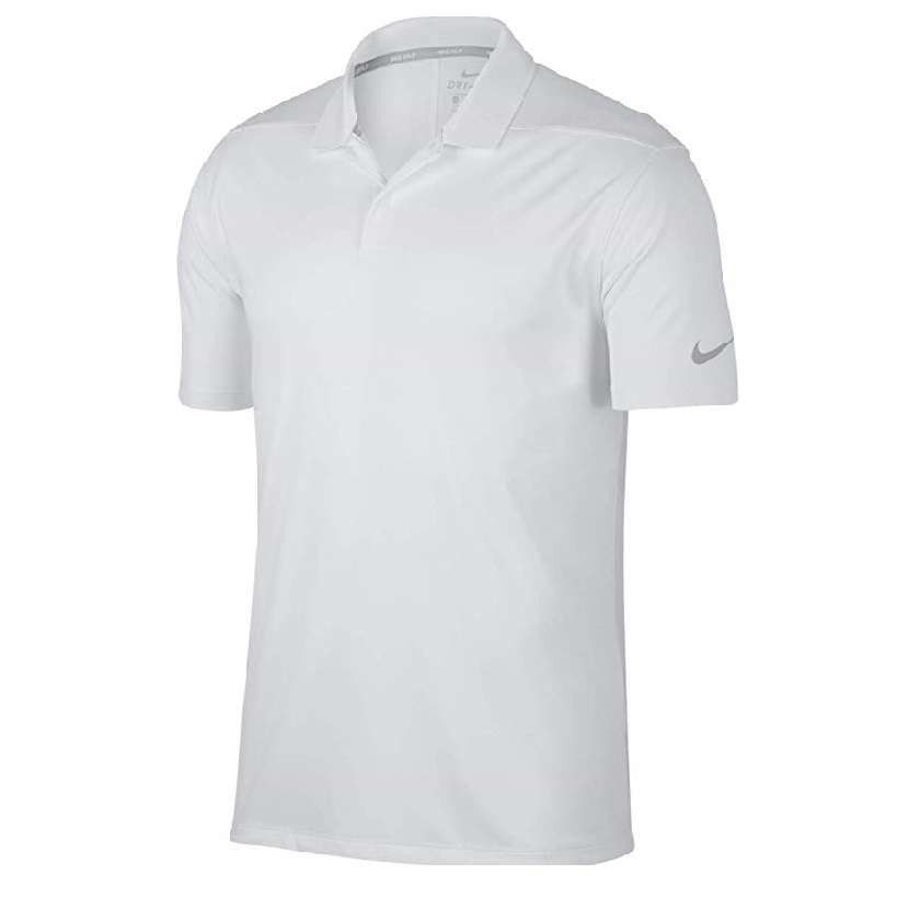 Nike Men Victory Solid Polo White Swoosh Logo Left Shoulder - 891881-100