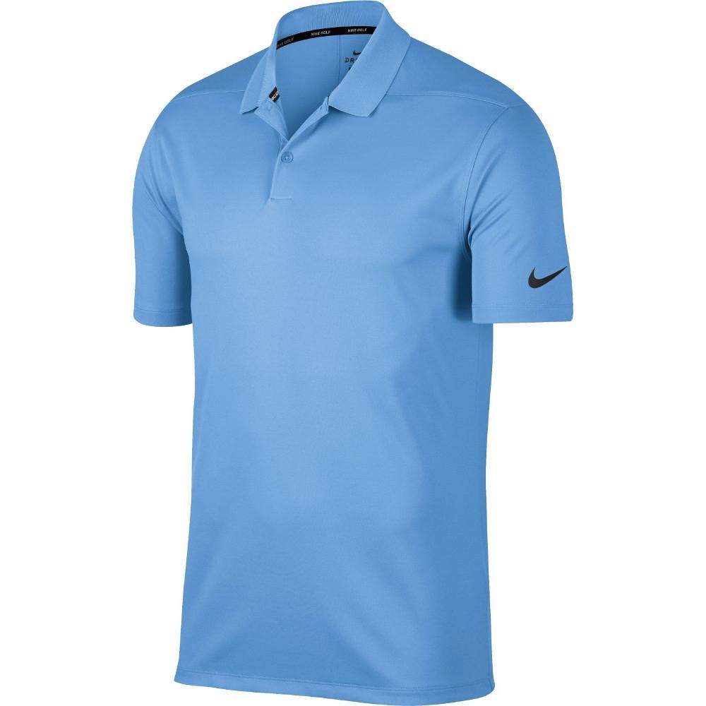 Nike Men Victory Solid Polo Ocean Swoosh Logo Left Sholder - 891881-452