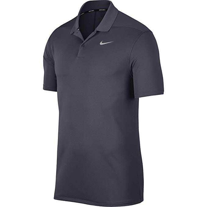 Nike Men Victory Solid Polo Grey Swoosh Logo Left Chest - 891857-010
