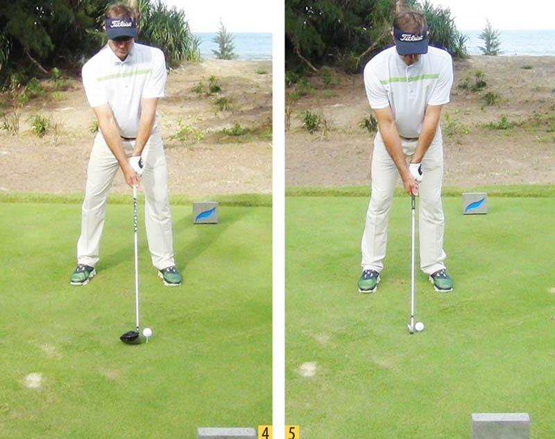 Tư thế chuẩn bị chuẩn là hai chân phải dang rộng ngang bằng vai, có khoảng cách của 1 cú mid-iron