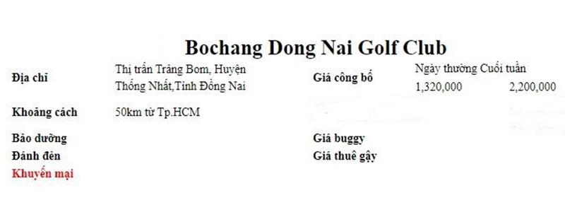 Bảng giá tại sân Bo Chang Dong Nai Golf Resort