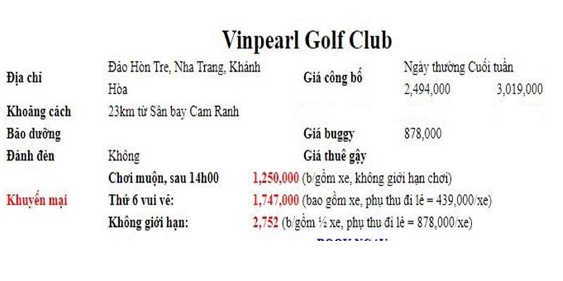 Chi phí chơi golf tại 10 sân lớn nhất Việt Nam - Sân Vinpearl Golf Club