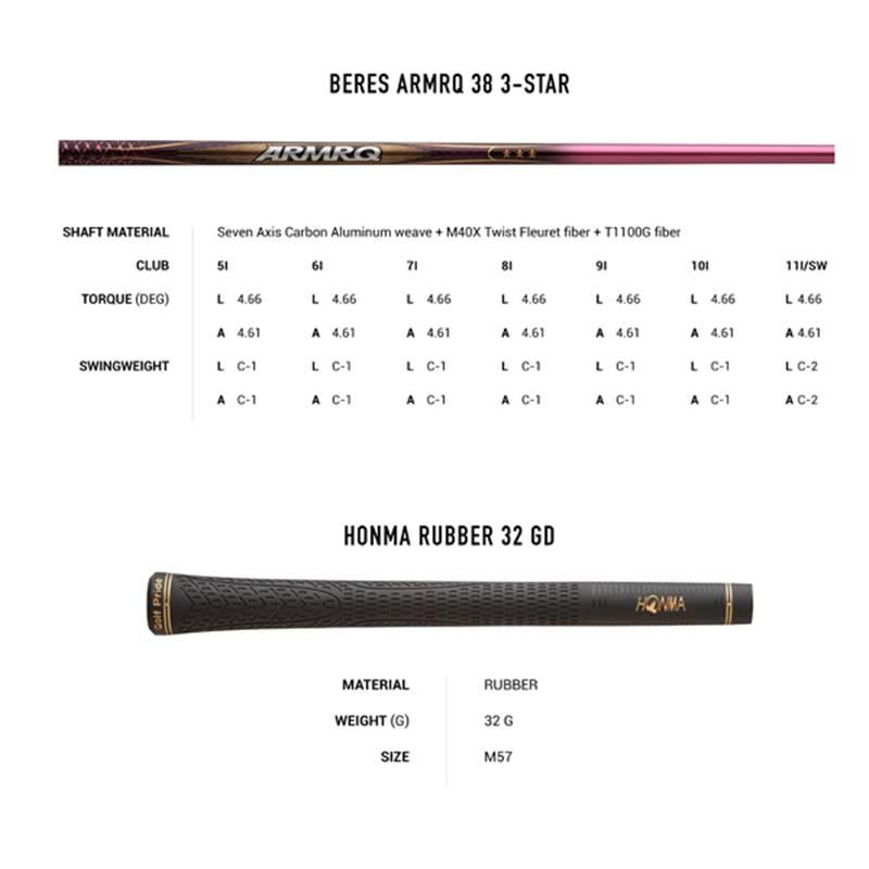 Bảng thông số kỹ thuật của gậy Ironset nữ Honma BE-07 3 sao
