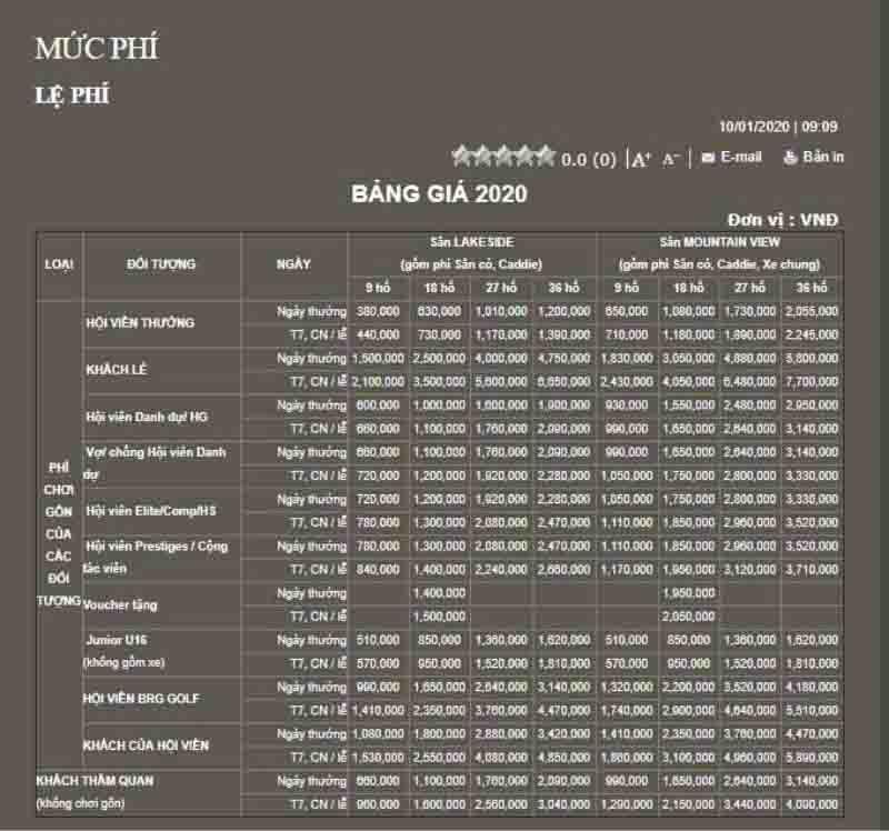 Bảng giá dịch vụ sân golf Đồng Mô (hình 1)