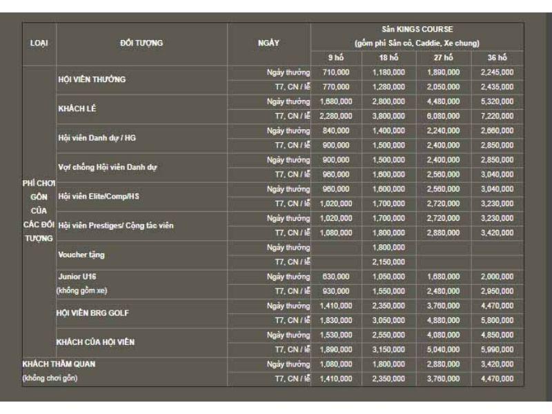 Bảng giá dịch vụ sân golf Đồng Mô (hình 2)