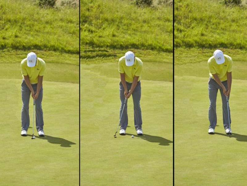 Tay golf luôn chuẩn bị đúng tư thế cho cú putting