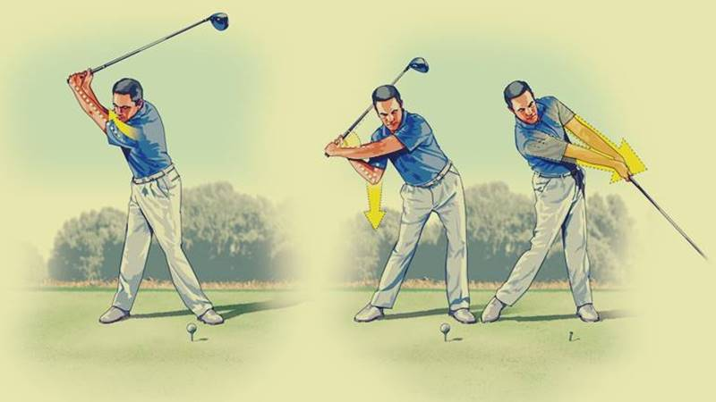 Thao tác thực hiện cú swing với gậy golf