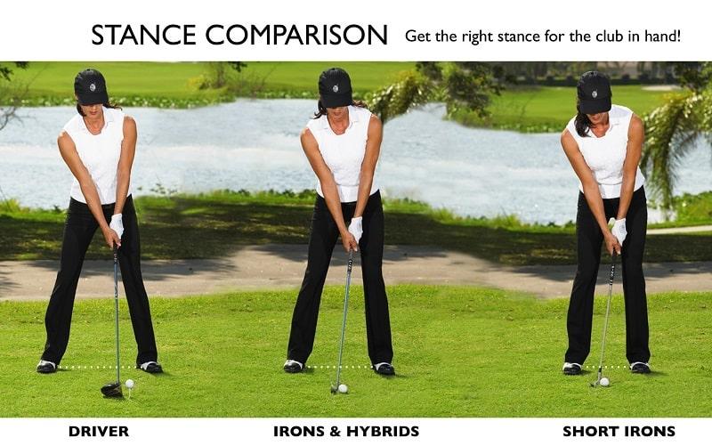 tư thế đánh golf với từng loại gậy