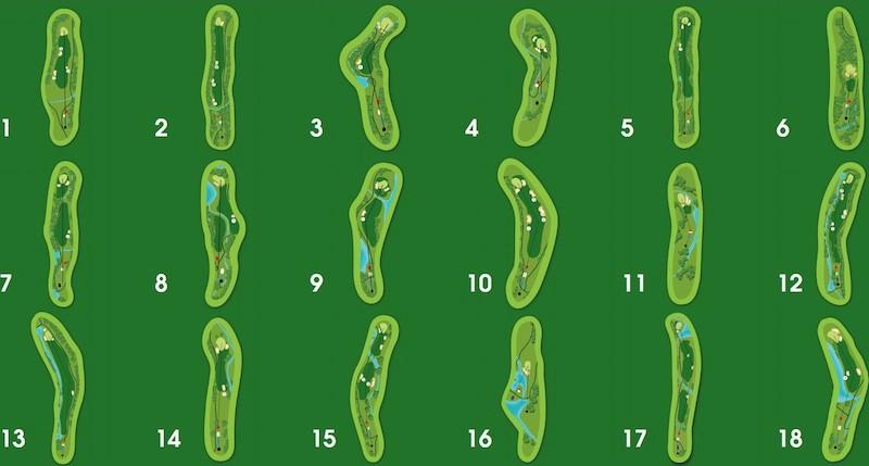 Sân golf Tuyền Lâm được thiết kế bởi Công ty Ekistics Canada, theo tiêu chuẩn quốc tế 18 hố