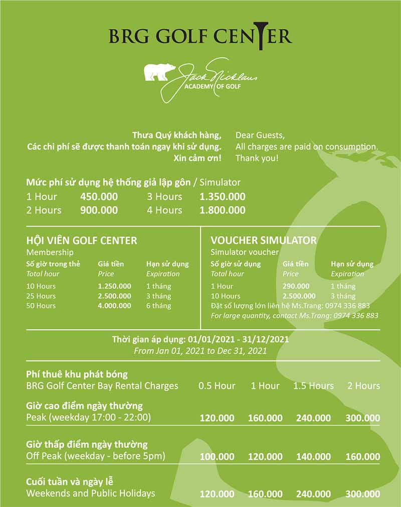 Bảng giá sân golf tại khách sạn Thắng Lợi